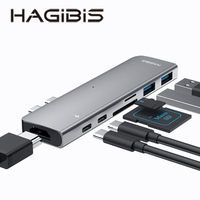 【HAGiBiS】DC7-七合一擴充器USB3.0*2+HDMI+SD/TF卡槽+TYPE-C+Thunderbolt3雙接頭貼(HDMI)