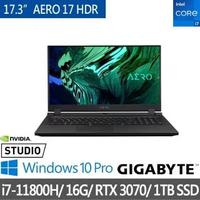 【GIGABYTE 技嘉】AERO 17 HDR XD17.3吋 創作筆記型電腦(i7-11800H/RTX3070/16G/1TB SSD/Win10P)