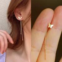 ยาวพู่สีทองผีเสื้อ Drop ต่างหู Silver สี2021แฟชั่นแขวนต่างหูผู้หญิงเครื่องประดับฤดูร้อนสาวปาร์ตี้...