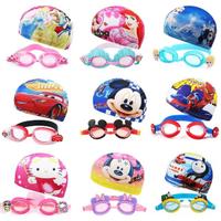 【Disney 迪士尼】兒童泳鏡泳帽組合(公主 艾莎 閃電麥坤 Kitty)