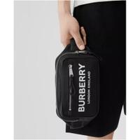 二手精品BURBERRY London款 黑色 Logo  標誌印花 尼龍腰包 顏值高