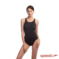 【SPEEDO】女 運動連身泳裝 Boomstar AL(黑/灰)