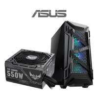【ASUS華碩 機殼+550W電源】TUF Gaming GT301 電腦機殼+TUF Gaming 550W 銅牌 電源供應器