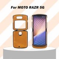 KISSCASE PU Leather Case for Motorola Razr 5G Folding Screen Phone Cover for MOTO Razr 5G Flip Two-color Cowhide Leather Case
