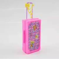3D สำหรับเด็กน่ารักพลาสติกกระเป๋าเดินทางกระเป๋าเดินทาง Trunk สำหรับตุ๊กตาบาร์บี้ตุ๊กตาของเล่...
