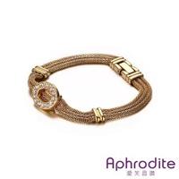 【Aphrodite 愛芙晶鑽】水鑽O圈鍊條造型316L鈦鋼手鍊