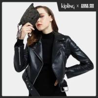 【KIPLING】Kipling x ANNA SUI 華麗黑蝴蝶壓紋拉鍊大開口手拿包-ART POUCH MINI
