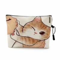 น่ารัก Kissing Cat แต่งหน้ากระเป๋ารูปแบบการพิมพ์น่ารักกระเป๋ากระเป๋าสำหรับเดินทางกระเป๋ากระเป๋...
