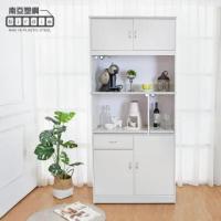【南亞塑鋼】3.2尺四門一抽二拉盤上開放塑鋼電器櫃/收納餐櫃(大理石灰)