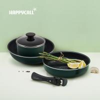 【韓國HAPPYCALL】陶瓷IH不沾鍋可收5件組(28cm深炒鍋/平底鍋/18cm湯鍋/鍋蓋/可拆式把手)