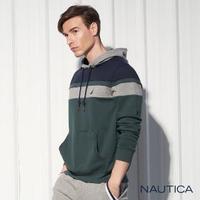【NAUTICA】撞色拼接連帽長袖T恤(綠色)