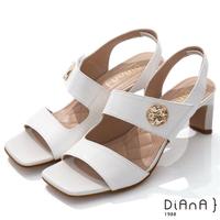 【DIANA】6.7cm質感羊皮方頭寬板金屬釦魔鬼氈露趾高跟涼鞋(白)
