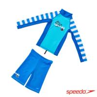 【SPEEDO】兒童長袖防曬衣褲組 Pulse(藍)