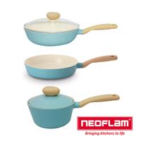 【韓國NEOFLAM】Retro 藍色公主陶瓷不沾3鍋組《泡泡生活》平底鍋/炒鍋/陶瓷鍋