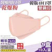 【BenQ】4D醫療口罩 乾燥粉 1入X10/盒(韓版口罩 立體口罩 魚型口罩 版型等同韓國KF94)
