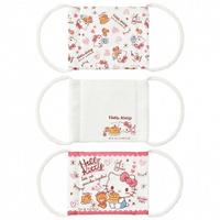 小禮堂 Hello Kitty 兒童平面布口罩 純棉口罩 平面口罩 (3入 粉白 鬆餅)