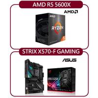 【ASUS 華碩】AMD R5 5600X+華碩 ROG STRIX X570-F GAMING(自組DIY兩件組R56)