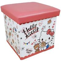 小禮堂 Hello Kitty 皮質折疊收納箱 (粉鬆餅款)