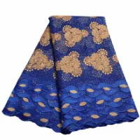 Beautiful Water Soluble African Guipure Cord Lace Fabric With Stone Royal Blue 5yards Nigerian Lace Fabric For Dress ZQ-C2