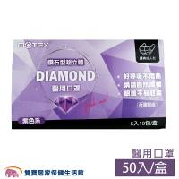 MOTEX 摩戴舒 鑽石型立體 醫用口罩 紫色 5入10包 雙鋼印 醫用口罩 醫療口罩 立體口罩(5片/10包/盒)