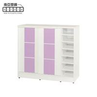 【南亞塑鋼】3.8尺方塊直飾條二推/拉門右開放防水塑鋼鞋櫃(白色+粉紫色)