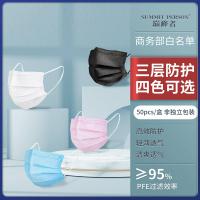 醫療級一次性口罩 加厚三層含熔噴佈黑色成人兒童口罩袋 獨立包裝