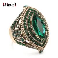 Kinel Luxury AntiqueแหวนVintageดูAAAคริสตัลสีเขียวBohoเครื่องประดับสีทองCharmชาติพันธุ์แหวน