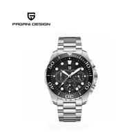 【PAGANI DESIGN】時尚三眼石英水鬼不鏽鋼錶 PD-2773-銀黑