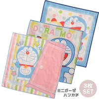 日本製哆啦A夢Doraemon3入小方巾18x18cm,兒童毛巾/小毛巾/洗澡巾/小方巾/兒童手帕,X射線【C999342】