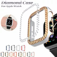 Luxury Watch Case for Apple Watch 44mm 40mm 42mm 38mm Pc Diamond Watch Cover for Iwatch Series 6 5 SE 4 3 2 1 Bright Plating