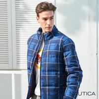 【NAUTICA】恆溫保暖科技羽絨格紋外套(藍)