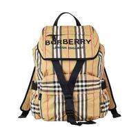 【BURBERRY 巴寶莉】BURBERRY ICON STRIPE印花LOGO尼龍扣式後背包(小/米)