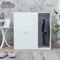 【南亞塑鋼】防水3尺二門一格組合式塑鋼衣櫃/雙吊桿塑鋼收納衣櫃(白色)