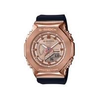 【CASIO 卡西歐】卡西歐 G-SHOCK 八角金屬殼雙顯手錶(黑x玫瑰金 GM-S2100PG-1A4)