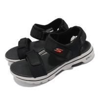 【SKECHERS】涼鞋 Go Walk 5 魔鬼氈 男鞋 穩定 支撐 避震 緩衝 穩定 黑 白(229003BKOR)