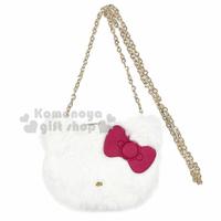小禮堂 Hello Kitty 大臉造型絨毛鍊條斜背包《白》隨身包.側背包.收納包