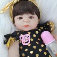 55 Cm Full Body Silikon Reborn Boneka Bayi Mainan Realistis Yang Baru Lahir Bayi Boneka dengan Anting-Anting Gadis Brinquedos Mandi Mainan