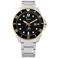 【CASIO 卡西歐】雙錶帶可替換 潛水錶 槍魚系列 黑水鬼 防水 日期 不鏽鋼手錶 黑金色 44mm(MDV-106GD-1A)