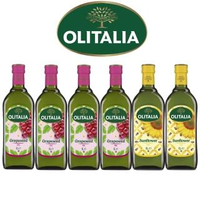 【Olitalia奧利塔】葡萄籽油+葵花油料理組(1000mlx6瓶)