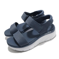 【SKECHERS】涼鞋 D Lux Walker 休閒 女鞋 厚底 輕量 魔鬼氈 膠底 健行 郊遊 藍 白(119226SLT)
