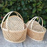 購物籃 收納籃土雞蛋籃帶蓋水果包裝籃竹製鏤空小竹籃禮品籃【週年慶免運八折】
