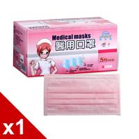 【毒】GRANDE格安德雙鋼印醫用成人平面口罩(粉色)一盒/50入含運