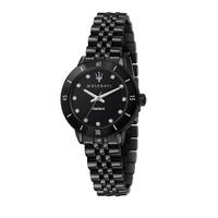 刷卡滿3千回饋5%點數|MASERATI 瑪莎拉蒂 SUCCESSO LADY 光動能水晶鑽黑鋼質感腕錶32mm(R8853145501)