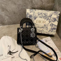 Dior 同款 禮盒包裝 新款包 mini lady 絲綢系列黛妃包