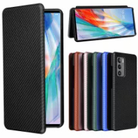 For LG Wing Case Luxury Flip Carbon Fiber Skin Magnetic Adsorption Shockproof Case For LG Wing 5G LGWing Protective Phone Bags