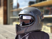 任我行騎士部品 Gallop M2 山車帽 內藏墨鏡 全罩 安全帽 #水泥灰