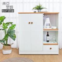 【南亞塑鋼】3.6尺二門一抽二拉盤塑鋼電器櫃/收納餐櫃(白色+原木色)