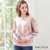 【NAUTICA】女裝英倫格紋長袖針織衣(粉紅)
