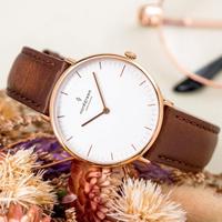 【Nordgreen】ND手錶 本真 Native 36mm 玫瑰金殼×白面 復古棕真皮錶帶(NR36RGLEBRXX)