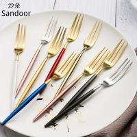 304不鏽鋼水果叉 高顏值創意鍍金小叉子三齒叉